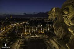 Sunset notre dame (apparencephotos) Tags: blue sunset paris canon cathédrale hour toureiffel bluehour capitale notredamedeparis gargouille préfecture chimere