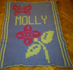 Flower blanket for Molly (dochol) Tags: chart flower cute wool butterfly handmade crochet craft graph yarn blanket afghan manta farfalla croche crochethooks haakenwert