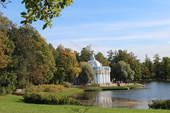 The Grotto pavilion by architect B.Rastrelly. Catherine's park.Pushkin. (Olga Hinchcliffe) Tags: blue autumn trees sky sculpture building green water grass stone architecture pond parc pushkin russianhistory lendscape russianhertage stpetersburgssuburb
