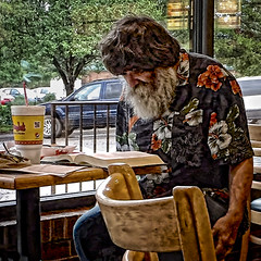 THE PROFESSOR (NC Cigany) Tags: food man beard reading restaurant book nc odd wig curious professor bojangles