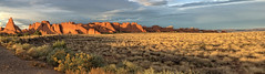 BLOWING GRASS AT ARCHES (PHOTOWEENIE) Tags: sunset red sky panorama southwest grass rock clouds point sandstone arch hiking formation moab vanishing