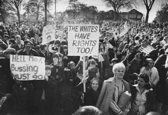 Boston residents protesting busing, 1974