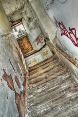 Sanitorium Stairway (Michelle O'Connell Photography) Tags: stairs hospital stairway staircase mentalasylum abandonedhospital hospitalcorridor derelictbuilding abandonedasylum mentalinstitute derelicthospital glasgowstairs abandonedcorridor glasgowhospital michelleoconnellphotography