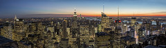 The Endless Possibility of New York City (gimmeocean) Tags: topoftherock 30rock 30rockefellercenter rockefellercenter rockcenter empirestatebuilding metlifebuilding chryslerbuilding sunset observationdeck manhattan newyorkcity nyc newyork ny panorama pano