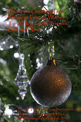 Season's Greetings to You All! (Deborah S-C - in The Fairy Garden) Tags: silver baubles glass lights bling christmastreedecorations festive december2016 twinkly ornaments festivities bestwishes