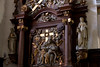 Hondschoote, Nord, Flandres, église Saint-Vaast, altar of 7 sorrows, detail (groenling) Tags: hondschoote nord flandres hautsdefrance france fr églisesaintvaast altar autel wood carving woodcarving retable saint sainte mary marie sorrows douleurs sevensorrows septdouleurs jesus pieta inri angel ange angelot cherub crownofthorns couronnedépines sun moon soleil lune cross croix statue