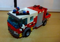 CFA Dandenong Rescue Support (LonnieCadet) Tags: lego 2016 brick moc custom truck appliance cfa country fire authority australia victoria emergency old new recent vehicle red blue grey white rescue support dandenong melbourne crane arm