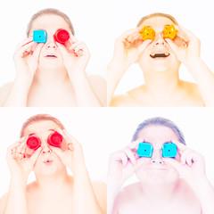 Saturday Night's Pop Art Splash (trm42) Tags: selfie blue popart kädet selfportrait squares lelut stars omakuva colors toys hands yellow mixed red