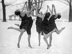 ladies dancing in snow (kevin63) Tags: lightner photo ladies dancing snow class blackandwhite barefoot