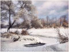 Frosty day on the river Protva. (odinvadim) Tags: mytravelgram paintfx textured textures iphone editmaster travel iphoneography sunset evening iphoneonly church painterly artist snapseed landscape photofx specialist iphoneart graphic painterlymobileart