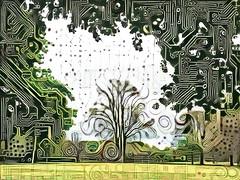 Citrus Circuits (Steve Taylor (Photography)) Tags: tree circuit pcb art digital green monocolor monocolour weird crazy odd strange hagleypark newzealand nz southisland canterbury christchurch branch shape curve lines texture silhouette dots swirl curl