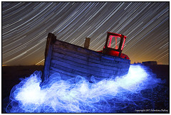 ST#52-52 Blue Tide (seb a.k.a. panq) Tags: 52 52weeks end night stars startrails st lightpainting elwire blue red led sebastianbakajphotography nightphotography noctography nightscape abandoned old boat oldboat dungeness kent uk