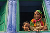 Window Stories (Karunyaraj) Tags: jodhpur rajasthan blue bluewall kid kidspotrait kidsexpression grandma window smile cwc cwc561 chennaiweekendclickers nikond610 d610 nikon24120