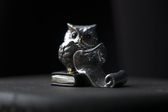 March 2nd 2017 - Project 365 (Richard Amor Allan) Tags: macro figure figurine owl silver trinket natural light scroll project365