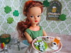 5. Working on St. Patty's Day (Foxy Belle) Tags: diorama st patrick patricks day restaurant pub green white wooden 16 scale playscale floors tammy ideal vintage doll liv wig redhead titian waitress