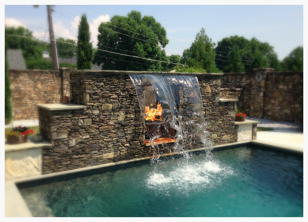 HPC Copper Fire Pit in Water Fall. Chattanooga, Tn.