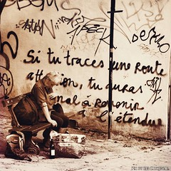 Si tu traces une route, tu auras mal  revenir  l'tendue. (Red Cathedral is alive) Tags: poverty red brussels blackandwhite streetart bench square europe cathedral belgium wine noiretblanc zwartwit homeless streetphotography bruxelles alcool alcohol squareformat capitalism brussel addiction sdf crema greed pauvret armoede capitalofeurope aztektv humaninterestphotography iphoneography armoedebestrijding instagramapp uploaded:by=instagram sataniswatchingyou dankloosheid