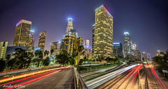 Downtown LA at night (andy.gittos) Tags: california street bridge panorama skyline night la los long exposure downtown traffic angeles 110 trails 4th freeway hdr