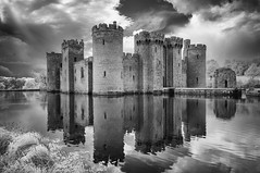 Bodiam Castle (David Feuerhelm) Tags: castles water clouds reflections sussex bodiam nikon d90 infrared moat sky history building towers monument oncewashome tower