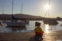 Break at the lake (Iceman_Mark) Tags: city sunset red summer woman lake water girl yellow backlight sailboat reflections switzerland see evening boat lego outdoor shore figure zürich waterside minifigure zürichsee legography