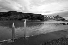 Open Air Pool (weirdoldhattie) Tags: sea blackandwhite bw beach pool swimming seaside swimmingpool devon seashore openair bude openairpool