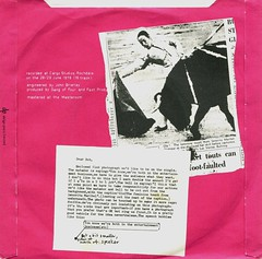 Gang Of Four - Damaged Goods ep (1978) (stillunusual) Tags: artwork vinyl fast bull single indie 1978 1970s bullfight sleeve postpunk ep gangoffour bside matador gangof4 damagedgoods picturesleeve armaliterifle fastproduct boblast lovelikeanthrax