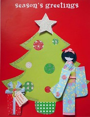Recycled Christmas card with Japanese paper doll (tengds) Tags: pink flowers blue red silver asian japanese star recycled christmastree card gift geisha bow kimono obi paperdoll origamipaper christmascard papercraft christmasornaments yellowgreen japanesepaper ningyo handmadecard chiyogami hairbow japanesepaperdoll origamidoll kimonodoll recycledcard tengds reusedcard