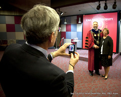 2012-09-14 Scott Feamster 1962 AHS Alum photographing  ISU President Steave Leath and Scotts spouse Carolyn (ameshighschool) Tags: president iowa event installation ames isu alumni 2012 alum leath iowastateuniversity amesiowa feamster ameshighschool 2012sep ameshighschoolalumniassociation 1962ahs ahs1962 ameshighclassof1962