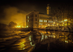 Salts Mill, Saltaire (Dave2638) Tags: fog night yorkshire saltaire digitalcameraclub