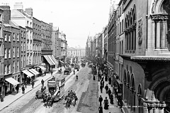 Dame Street in the centre of Dublin (National Library of Ireland on The Commons) Tags: robertfrench williamlawrence lawrencecollection lawrencephotographicstudio thelawrencephotographcollection glassnegative nationallibraryofireland damestreet dublincity ireland trinitycollege collegegreen williamoforangestatue horsetram 1890s olivette theatreroyal trams summer legofmuttonsleeve gigotsleeve explore