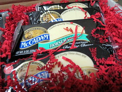 Bricks Of Cheese. (dccradio) Tags: lumberton nc northcarolina robesoncounty cheese mccadam adirondack sharp horseradish empirepepperjack pepperjack mild cheddar nycheese nystatecheese red paper packaging cheesebox box shippingbox