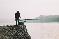 (Nothing is surrender) Tags: danube river fog fisherman ribar serbian serbia pentaxmv