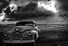 The American Dream. (Gautham Narayan) Tags: politics inaugration trump blackandwhite landscape coupedeville sonoita arizona southwest car vineyard clouds border