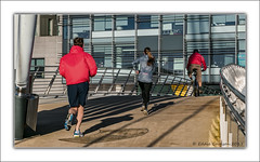 New Year's Resolution (theirs, not mine). (Fermat48) Tags: salfordquays mediacityuk joggers jogging cycling bridge running runners