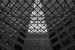 melbourne-2273-ps-w (pw-pix) Tags: buildings towers skyscrapers tall city glass pattern patterned angled grid truss supports geometry geometric triangles squares diamonds translucent transparent ir infrared bw blackandwhite irmodifiednikon1v1 720nminfrared lookingup vertical sky clouds cloudy overcast grey dull cool collinstower anztower collinsplace collinsstreet parisendofcollinsstreet cbd melbourne victoria australia