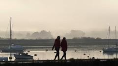 Misty morning ladies (fstop186) Tags: misty morning ladies walkers fog early mist millpond emsworth yachts lowtide moorings buoys silhouettes