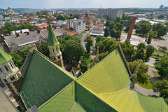 Looking down onto the roof of the Church of Sts Olha and Elizabeth (Thomas Roland) Tags: church sts olha elizabeth neogothic gothic gotisk ukrainian greek catholic kirche architecture summer sommer holiday travel ukraine львів lvov lemberg city by stadt україна oblast l'viv europe europa historic center centre unesco world heritage building nikon d7000