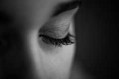 Looking too closely....... (fehlfarben_bine) Tags: nikond800 nikon105mmf28 naturallight monochrome eyelashes mood details woman lookingtooclosely fink eye inspiredbyasong dof macro macromondays