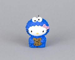 Cookie Monster with bitten cookie (ChuE creations) Tags: hellokitty cookiemonster sesamestreet sculpey urethane figurine keychain