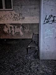 decadent enough? (morosus) Tags: este dark chair szék fal wall aszfalt asphalt budapestbudapest buda graffity city citylife bigcitylife elégdekadens