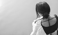 Infinity (MashrikFaiyaz) Tags: flickrunitedaward conceptual girl lady water pond monochrome blackandwhite nikon d5300 outdoor sunshine sunny noon afternoon modeling dress saree sensual fashion experiment natural nature light posing photowalk spring