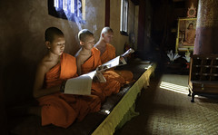Thai novice reading book in front of temple. (Alongkot.S) Tags: asia book boys buddha children education ethnic face faith kid learn monk outdoor potrait prayer read reading regious school tample teaching thai thailand worship young