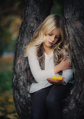 October (marina_ta) Tags: child outdoor tree kid pretty mdel nature dreaming eyes hair blond girl youth park