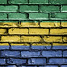 National Flag of Gabon on a Brick Wall
