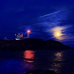 Lighthouse Full Moon (moniquef123) Tags: ocean moon lighthouse reflection beach water night dark maine fullmoon