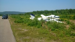 Beechcraft A100 which veered off the runway at Margaree Airport in Nova Scotia. (TSBCanada) Tags: nova plane accident aircraft off veer scotia runway margaree