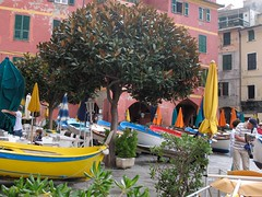 Cinque Terre colour (smitchelrific) Tags: pink italy colour boats riviera harbour flags cinqueterre