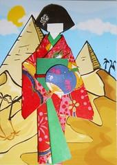ATC1280 - Fanning by the pyramids (tengds) Tags: pink flowers blue red cloud sun green yellow atc artisttradingcard fan egypt kimono obi pyramids origamipaper papercraft japanesepaper washi ningyo handmadecard chiyogami yuzenwashi japanesepaperdoll patternprint nailsticker washidoll origamidoll kimonodoll nailartsticker tengds