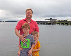 Trying to Wrangle the Boys (babyfella2007) Tags: ocean red sea jason beach sc wet water face port river carson hair island coast living pier high grant south tide low country salt michelle royal southern coastal taylor carolina marsh sands beaufort tidal lowcountry batesburg joquine