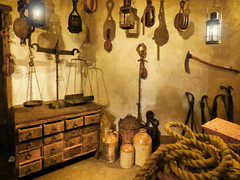 Brown Shadows (Steve Taylor (Photography)) Tags: wood old uk greatbritain light shadow england brown london art texture lamp museum digital glow basket antique rope cargo replica cardboard scales gb jar axe jug docklands balance wicker pulley drawers pully weighing museumoflondon unitedkindom